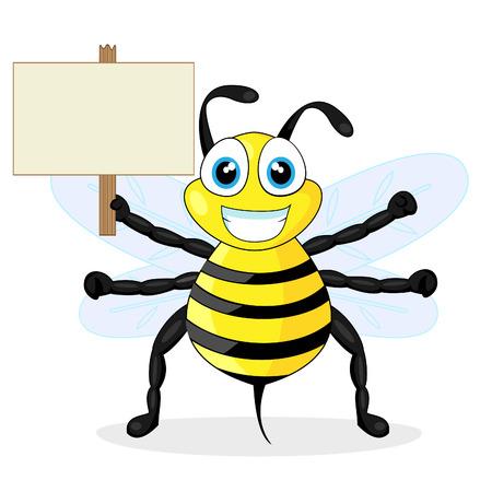 cute bee holding wood sign  矢量图像