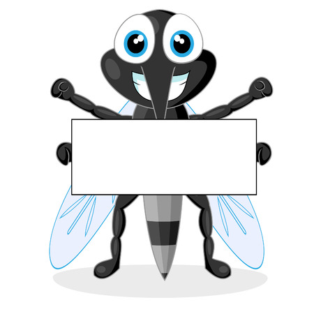 cute mosquito with blank sign  Vector