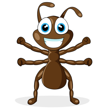 cartoon bug: cute little brown ant  Illustration