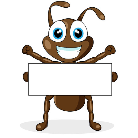 cute little brown ant with blank sign  Illustration