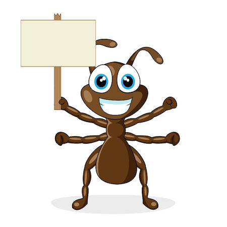 cute little brown ant with wood sign  Vector