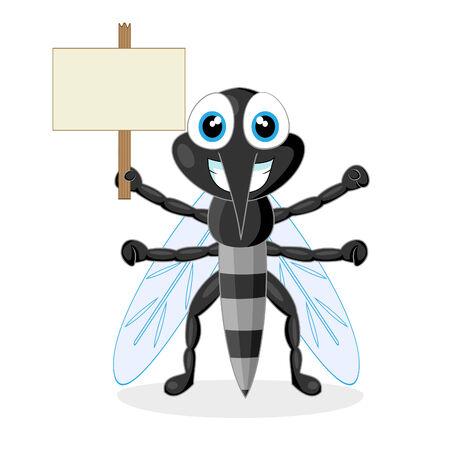 plagas: mosquito lindo con signo de madera
