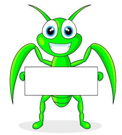 cute praying mantis holding a blank sign