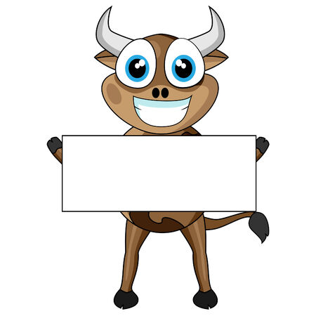 Cute Cow Holding a Blank Sign Stock Vector - 8770718