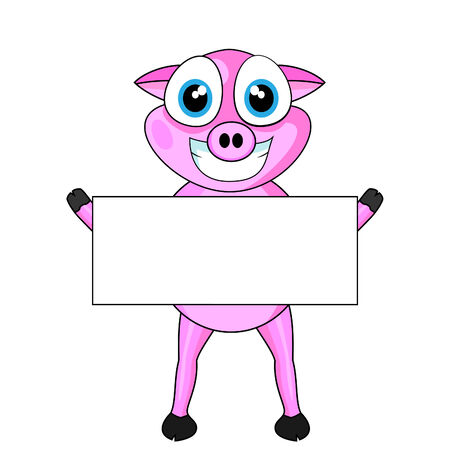 Cute Pink Happy Pig Holding A Blank Sign  Stock Vector - 8770715