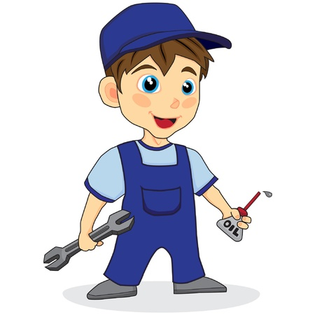 cute mechanic boy Stock Vector - 10709954