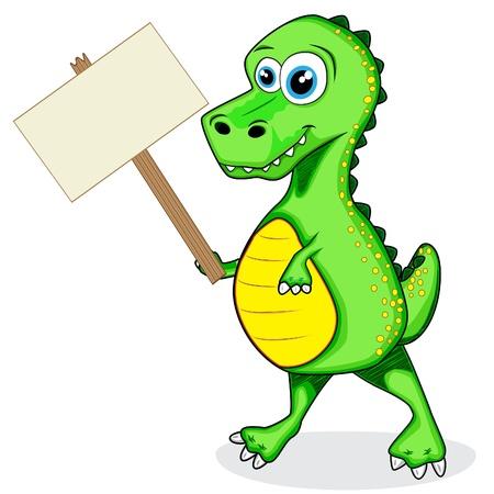 cute dinosaur: lindo del dinosaurio T-Rex celebraci�n de madera signo Vectores