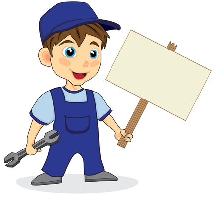 cute mechanic boy with wood sign
