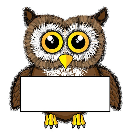 Cute looking owl holding blank sign