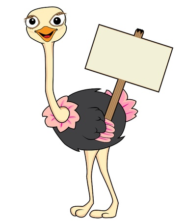 plushy: Cute Ostrich holding a wooden sign