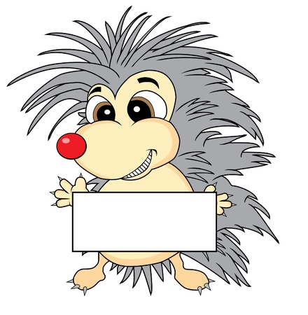 spiky hair: Cute hedgehog holding a blank sign