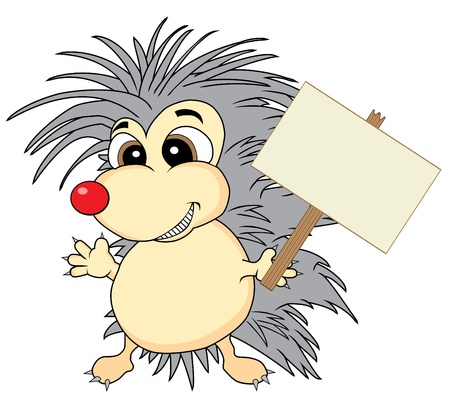 wild nature wood: Cute hedgehog holding a wooden sign Illustration