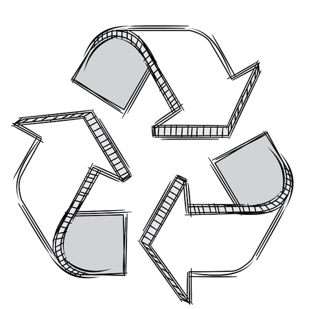 recyclable: Doodle of a recycle sign