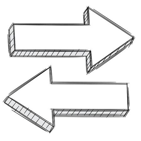 Doodle de la flèche pointant à gauche et à droite Vecteurs