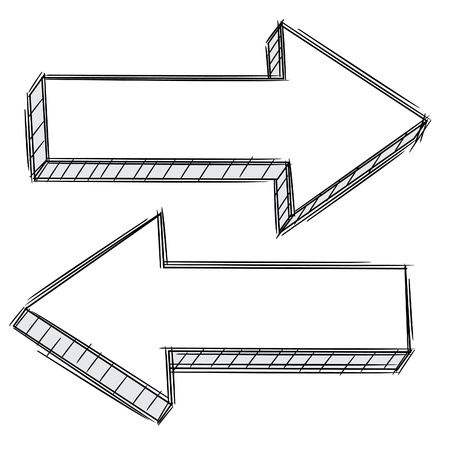 down arrow: Doodle of arrow pointing left and right