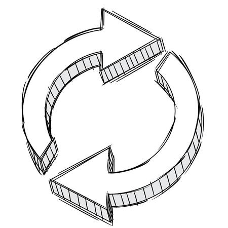 Pencil Doodle of a refresh arrow sign