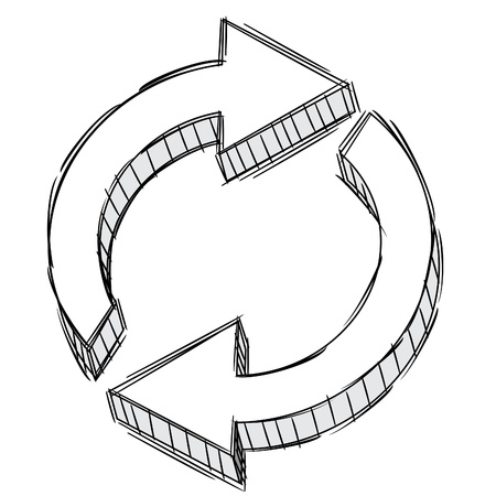 Pencil Doodle of a refresh arrow sign  Vector
