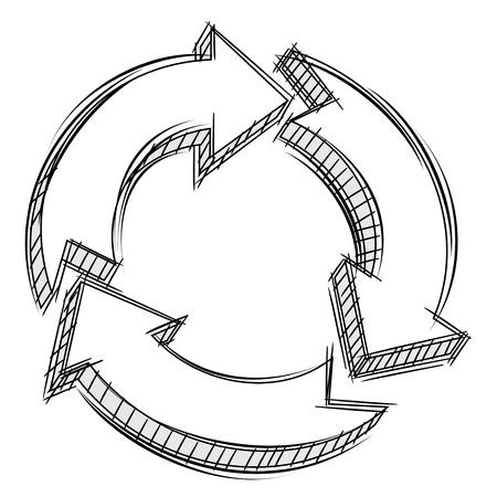Doodle de tres flechas circulares Ilustración de vector