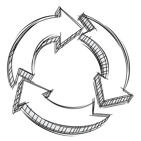 Doodle of three circular arrows  Vector