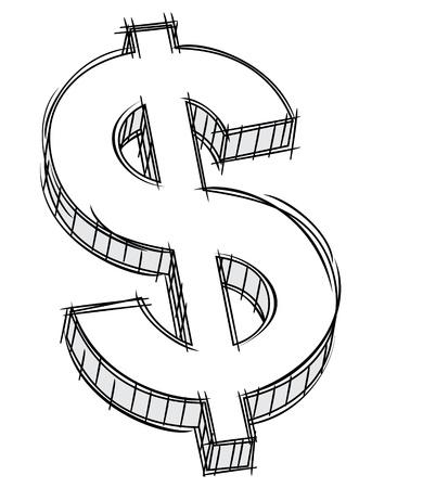 dollaro: Doodle di segno denaro