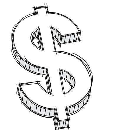 dollar icon: Doodle of money sign  Illustration