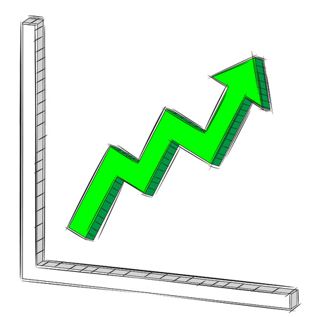 uptrend: Vector Illustration Doodle of Uptrend Chart and Graph