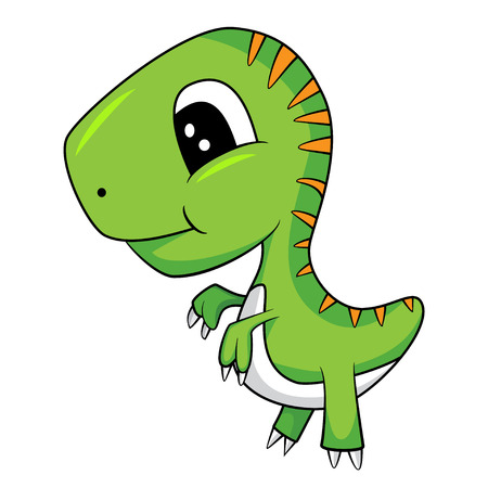 Illustration of Cute Cartoon of Green Baby T-Rex Dinosaur. Illustration