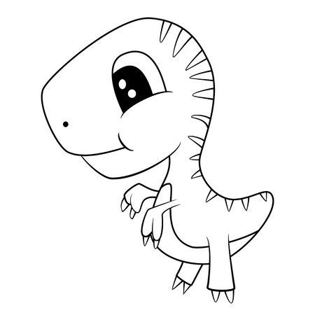 Ilustración Blanco Y Negro De Un Dinosaurio De Eclosión Y Con Un ...