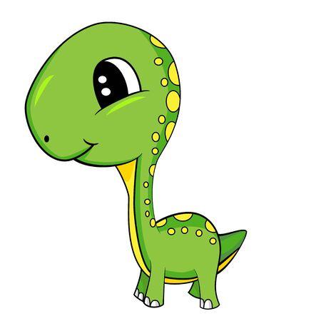 Illustration of Cute Cartoon of Green Baby Brontosaurus Dinosaur.