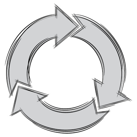 Illustration of Cute Cartoon Doodle of Three Circular Arrows. Vector EPS8.