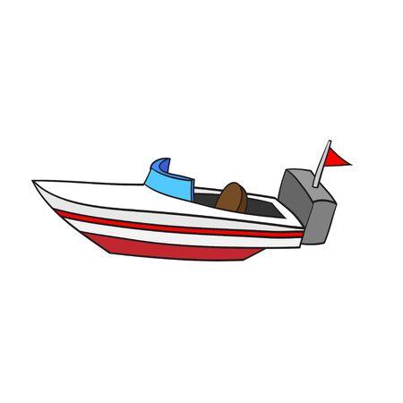 motorizado: Ilustración del barco aislado de la velocidad de la historieta. EPS8.