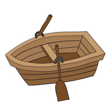 Illustration of cute cartoon doodle of wooden row boat. EPS8. Çizim