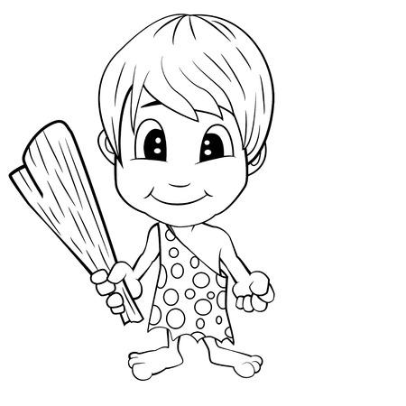Illustration of isolated cartoon stone age cute cave boy. Vector EPS 8. Illustration