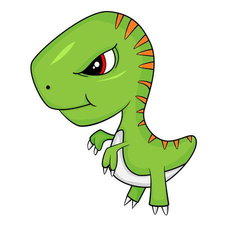 Illustration of Cute Cartoon of Baby T-Rex Dinosaur. Vector EPS 10.