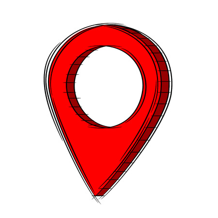Illustration of Cute Cartoon Doodle of 3D Map Pointer Icon. EPS8.