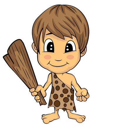 uncultivated: Illustration of Isolated Cartoon Stone Age Cute Cave Boy. Vector EPS 8.