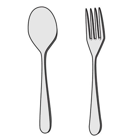 Illustration of Isolated Fork and Spoon Cartoon Drawing. Stock Vector - 74512330