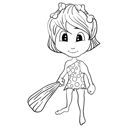 uncultivated: Illustration of isolated cartoon stone age cute cave girl. Vector EPS 8. Illustration