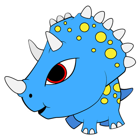 Illustration of cute cartoon blue baby triceratops dinosaur. Vector EPS 8. Illustration