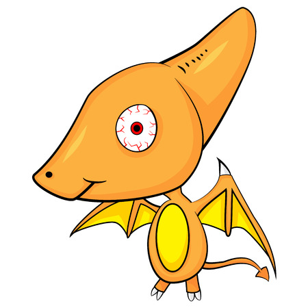 Illustration of Cute Cartoon of Baby Pterodactyl Dinosaur. Vector Illustration
