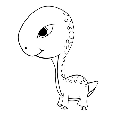 Illustration of Cute Cartoon of Green Baby Brontosaurus Dinosaur. Vector EPS8 . Illustration