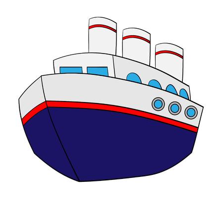 Illustration of isolated cute cartoon ship. Vector EPS 8. Illustration