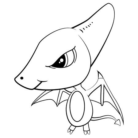 Illustration of Cute Cartoon of Baby Pterodactyl Dinosaur. Vector EPS8.