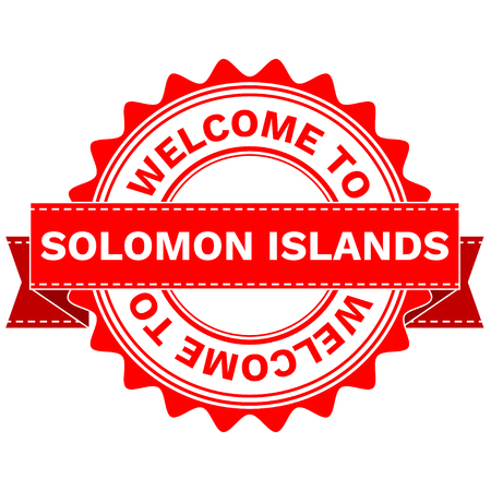 Illustration Doodle of WELCOME TO COUNTRY SOLOMON ISLANDS . EPS8 .