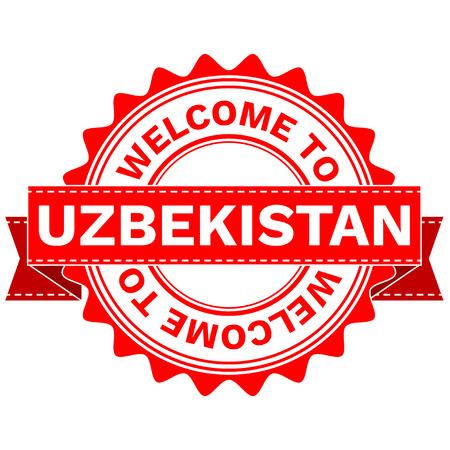Illustration Doodle of WELCOME TO COUNTRY UZBEKISTAN . EPS8 .