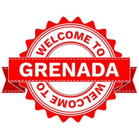 grenada: Illustration  Doodle of WELCOME TO COUNTRY GRENADA . EPS8 .