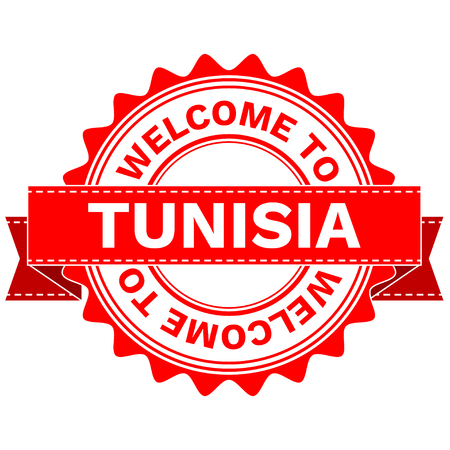 Illustration  Doodle of WELCOME TO COUNTRY TUNISIA . EPS8 .