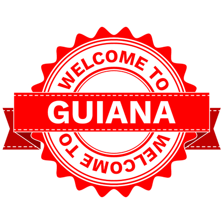 guiana: Illustration  Doodle of WELCOME TO COUNTRY GUIANA . EPS8 .