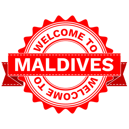 Vector Illustration Doodle of WELCOME TO COUNTRY MALDIVES . EPS8 .