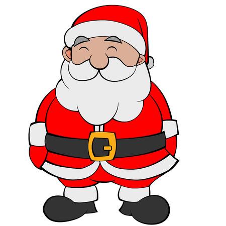 Illustration of a Happy Cartoon Flat Color Santa. Vector EPS10